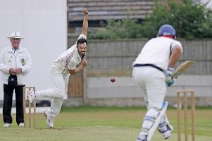 Daryl Mitchell bowling for Blackpool at Stanley Park in 2016