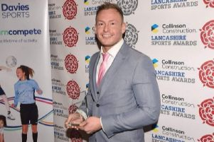 Ross Goodwin with his Lancashire coach of the year award