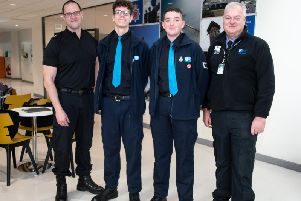 Insp Rob Conolly-Perch, Alex Stuart,, Matthew Blizzard and Steve Smith, commander for Blackpool South Cadets