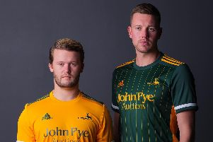 Ben Duckett and Jake Ball donning the new Notts kits for 2020 designed by adidas
