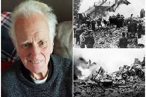 Pictured left, Thomas Sandford. Right, the scene of carnage after a B-24 Liberator bomber from the US Airforce base at Warton crashed on the Freckleton village school.
