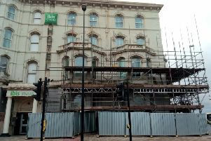 Scaffolding in place at the Ibis (formerly Clifton) Hotel