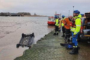 The car was found submerged in water near the Fleetwood-Knott End ferry slipway on Sunday morning (January 5). Pic: HM Coastguard Fleetwood