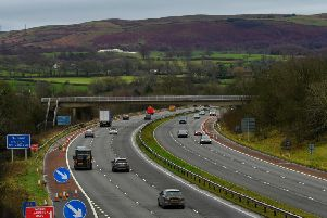 The footbridge on the M6, just south of Lancaster Services