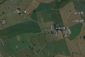 A Google Maps view of the Roseacre area showing Cuadrilla's Elswick gas production site as the square on the mid-left and Roseacre Wood, where a proposed shale fracking well was planned, on the far right