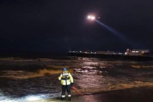 The Coastguard helicopter was involved with the search along with RNLI and Coastguard teams. (Credit: HM Coastguard Fleetwood)