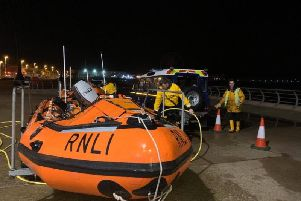 RNLI volunteers in Blackpool were called out at 11pm last night (January 14) to reports of a person in the water near the Sandcastle. Pic: RNLI Blackpool