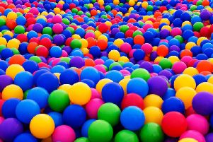 It can awkward for a grown man to crawl around on all fours in a ball pit