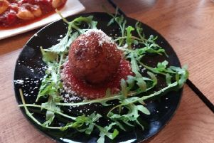 Suppl� al telefono (crispy rice balls filled with mozzarella and tomato sauce) at Farina and Co Cicchetti, St Annes