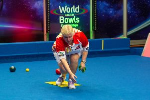 Janice Gower contests the ladies' singles final at the World Indoor Bowls Championships in Norfolk this afternoon