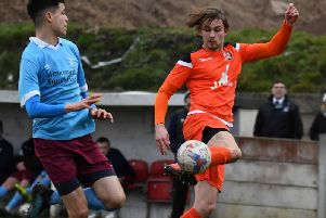 AFC Blackpool man of the match Jamie Thomas on the ball Picture: ADAM GEE