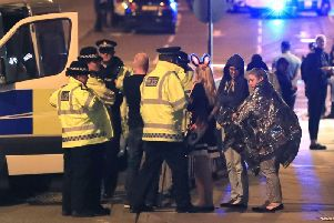 Scenes outside the Manchester Arena following the attack