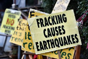 Placards near fracking site at Little Plumpton