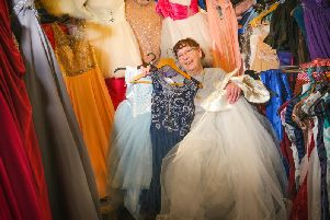 Linda McEvilly of Blackpool outreach group Care and Share is giving out free prom dresses to girls whose parents can't afford the extravagant prices this year. Picture by Martin Bostock