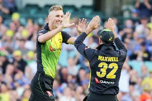 AYUP LAD: Billy Stanlake celebrates with Glenn Maxwell after taking his first wicket for Australia against New Zealand in the T20 Tri-Series earlier this month. Picture: David Neilson/ www.photosport.nz/SwPix.com