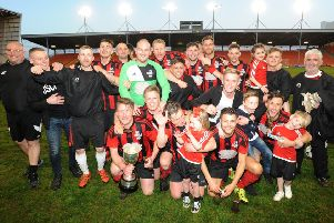 The Saddle celebrate their win after getting the better of Highfield Social