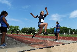 Lara Newell of St Bede's in the long jump