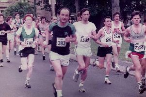 Runners make their way through Grimsargh in 1984