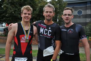 Competitors taking part in the Hartlepool Big Lime Triathlon.  Top three men.