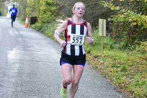 Helen Buchan on her way to finishing second lady in the Accrington 10K race on Sunday