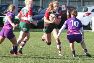 Laura Perrin (on the ball right) developed her passion for rugby union with Fylde Mini-Juniors