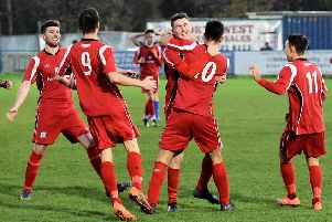 Gate celebrates Ryan Charnley's goal which put them 4-3 ahead     Picture: Albert Cooper