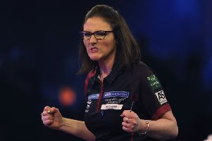 CAMBERLEY, ENGLAND - JANUARY 10: Lorraine Winstanley of England celebrates winning her quarter-final match against Trina Gulliver MBE of England during Day Six of the BDO World Darts Championship at Lakeside Country Club on January 10, 2019 in Camberley, England. (Photo by Alex Burstow/Getty Images)
