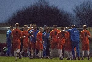 Blackpool celebrate a goal on their way to victory over Darwen  Picture: NIKKI WILCOCK