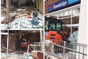 Videograb image of the damage caused to the Travelodge in Edge Lane, Liverpool