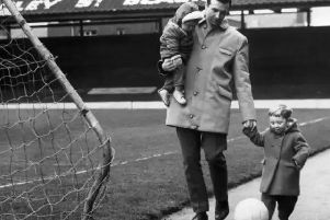 Jimmy Armfield with sons Duncan and John at Bloomfield Road