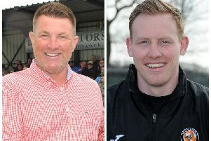 Left, Longridge FC chairman Kevin Harrison, right, Blackpool manager'Martin Baird