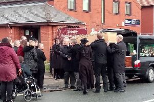 Jordan Tenbey's funeral at Trinity Baptist Church, Fleetwood. Pic by Wes Holmes
