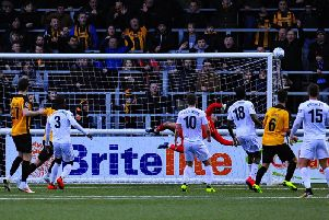Jay Lynch's outstanding save denies Jake Robinson a winner for Maidstone Picture: STEVE MCLELLAN