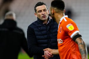 Sunderland manager Jack Ross shakes the hand of Blackpool's Curtis Tilt after the match