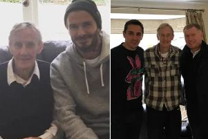 Halifax's Eric Harrison with his former players David Beckham, Gary Neville and Paul Scholes