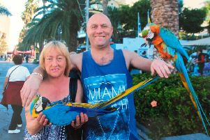 Robert Waugh and his partner Alison Higgins on holiday in Tenerife before the tragic fall