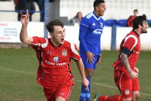 James Boyd celebrates his second goal'                Picture: Albert Cooper