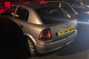 The silver Astra stopped by police.  Credit: Lancs Road Police