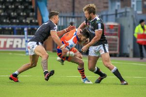Action from Halifax's first-round clash with Widnes Vikings. PIC: Simon Hall.