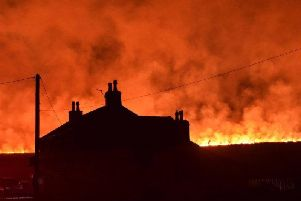 Picture taken with permission from the Instagram feed of Nick Lawton showing a fire on Saddleworth Moor. PRESS ASSOCIATION Photo.