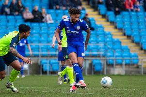 Actions from FC Halifax Town v Havant and Waterlooville, at the Shay. Pictured is Jonathan Edwards