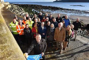 Cllr Bastiman, guests and supporters at the unveiling of the Runswick Bay sea wall.