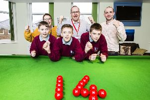 Back, from the left, residential social care worker Charlotte Green, vice principal Damien Talbot and senior residential care worker Tom Forsyth. Front, Zac Priestley, 11, Danny Booth, 12, and Billy-Joe Cook, 13.