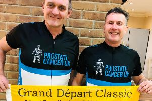 Rik Clough (right) and Nick Emmott are ready for the challenge of a lifetime to take part in the first stage of the Tour de France for Prostate Cancer UK.