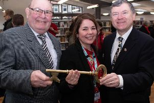 County Councillor Stephen Clarke, Branch Manager Joanne Davies and Cabinet Member Peter Buckley at the re-opening of Cleveleys library