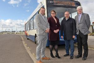 Alex Crutchley, senior facility manager, Kerry Ryan, Stagecoach operations manager, Hull, Cllr Richard Burton; and Chris Mottershaw, the council's transport commissioning manager
