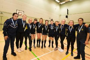 The successful handball team from Burnley's Blessed Trinity RC College who will represent Lancashire in the North West Handball finals.