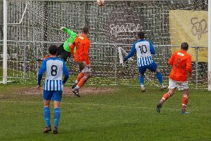 Halllam FC in action in their 3-0 win over Swallownest
