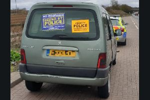 The Peugeot Partner which was seized. Credit: Norfolk & Suffolk Roads and Armed Policing Team