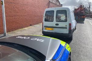 The white Vauxhall Combo was stopped in the resort this afternoon by Lancs Road Police officers.Credit: Lancs Road Police